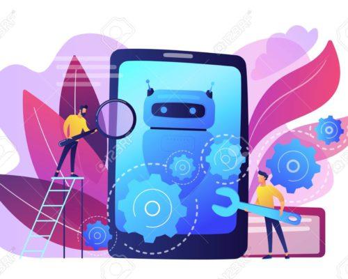 Chat bot app development concept vector illustration